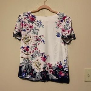 ASOS Oasis Floral Print Top With Lace Sleeves